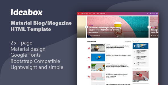 Ideabox Material BlogMagazine HTML Template By Tgundogdu - Google design templates