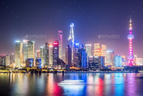 shanghai skyline in evening stock photo by chuyu2014 photodune