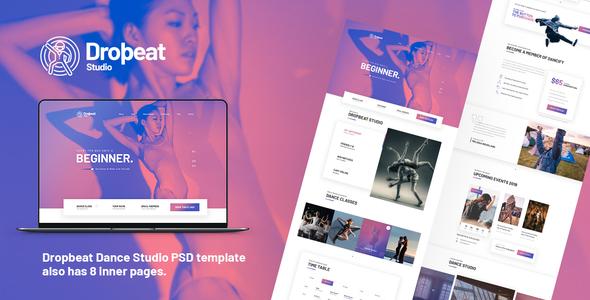 dropbeat dance studio creative psd template by themeton themeforest
