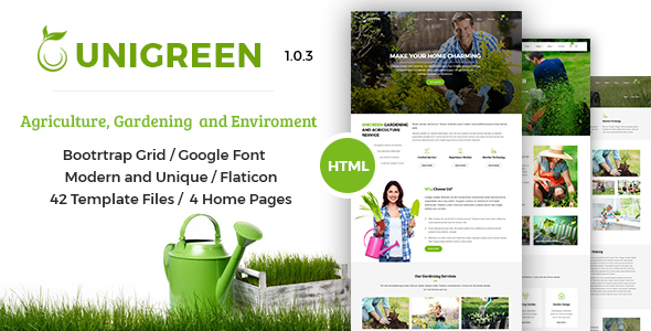 UNIGREEN - Agriculture, Gardening and Environment HTML Template by ...