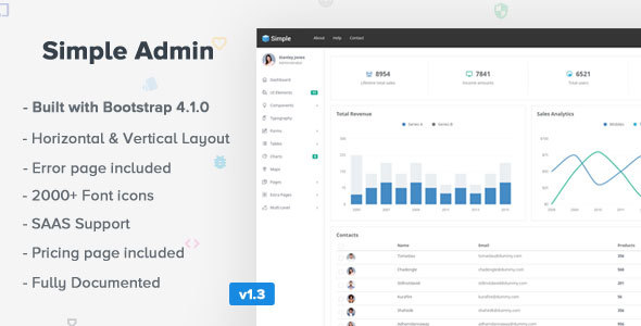 SimpleAdmin - Responsive Bootstrap 4 Admin Template by coderthemes