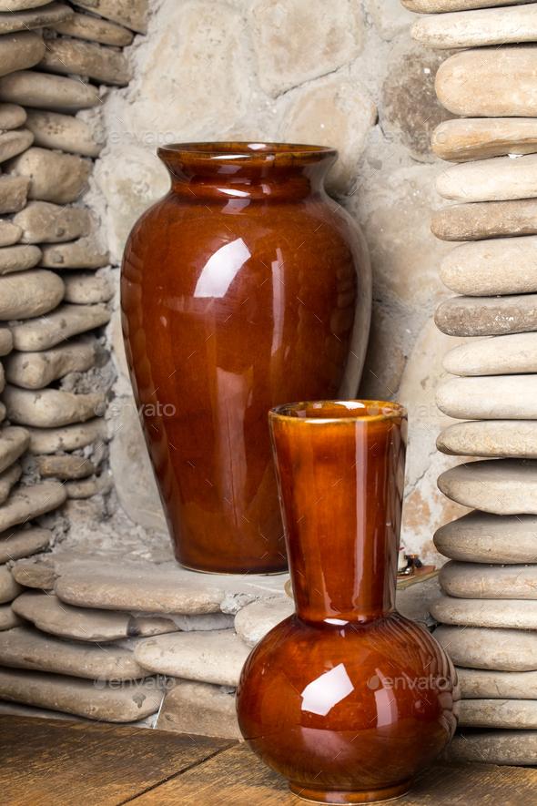 Brown Clay Vases Stock Photo By Indigolotos Photodune
