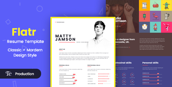 flatr one page resume portfolio html template portfolio creative
