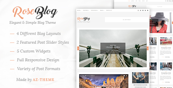 Rose - Elegant & Simple WordPress Blog Theme by AZ-Theme | ThemeForest