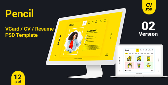 Virtual business card cv resume psd template by createuiux themeforest virtual business card cv resume psd template personal psd templates fbccfo