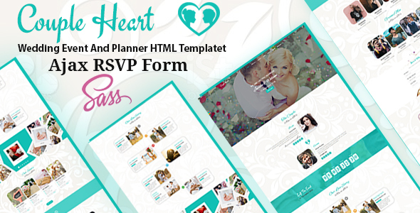 couple heart wedding event and planner html template wedding site templates