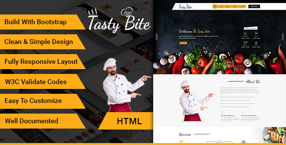 Tastybite food restaurant bootstrap html5 template by dazzlersoft tastybite food restaurant bootstrap html5 template food retail maxwellsz