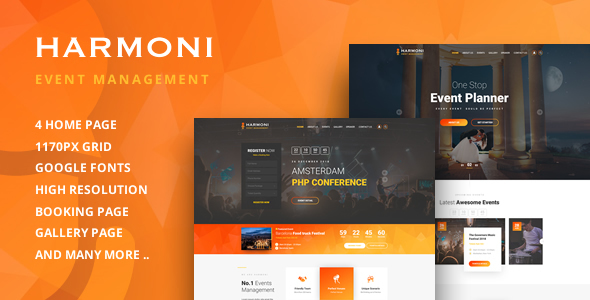 harmoni event management html template by jthemes themeforest