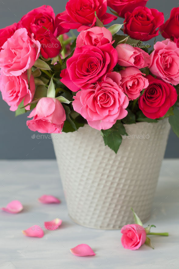 beautiful red rose flowers bouquet in vase over gray Stock Photo by ...