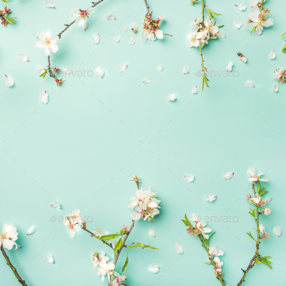 Spring Floral Background With Almond Blossom Flowers