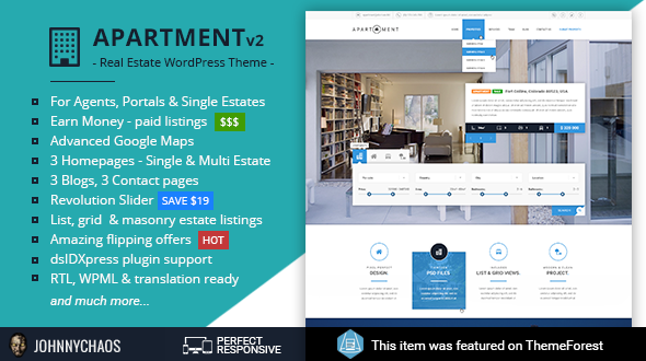 Apartment WP   Real Estate Responsive WordPress Theme For Agents, Portals,  Single Property Sites