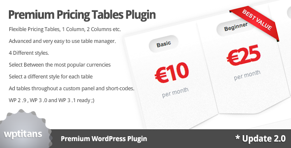 Codecanyon Premium Pricing Tables Plugin WordPress v2.0 *Updated: 6/24/11