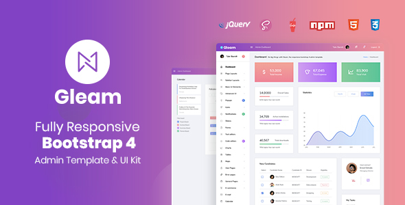 Gleam Bootstrap 4 Admin Template by urbanui   ThemeForest