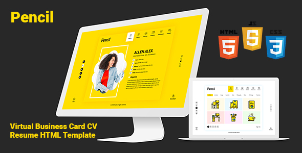 Pencil virtual business card cv resume html template by createuiux pencil virtual business card cv resume html template virtual business card personal live preview friedricerecipe Gallery