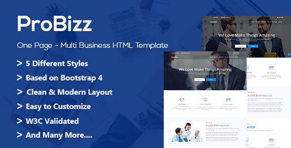 Probizz html business landing page by codeglamour themeforest probizz html business landing page corporate site templates flashek Image collections