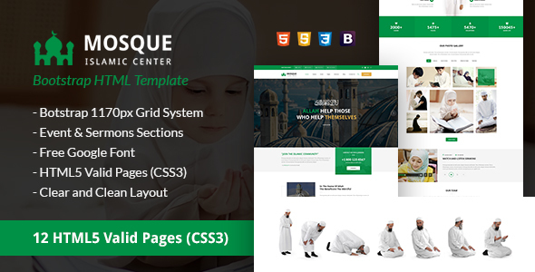 Mosque Islamic Center Bootstrap HTML Template By Uiuxdesigns - Google pages templates