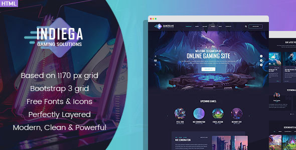 indiega gaming html template by denysthemes themeforest