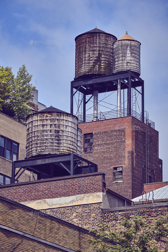 Water Tanks One Of The New York City Symbols Stock Photo By