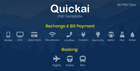 quickai recharge bill payment booking psd template by harnishdesign