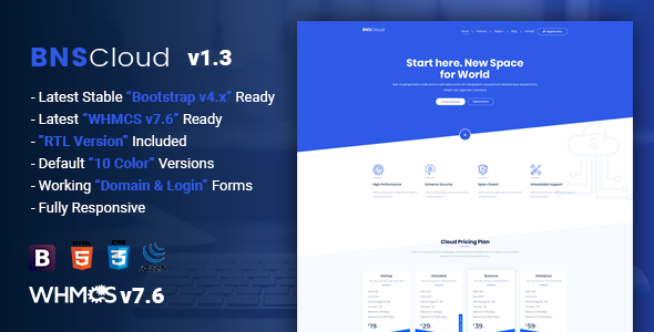 BNSCloud | Multipurpose Hosting with WHMCS Templates by themelooks