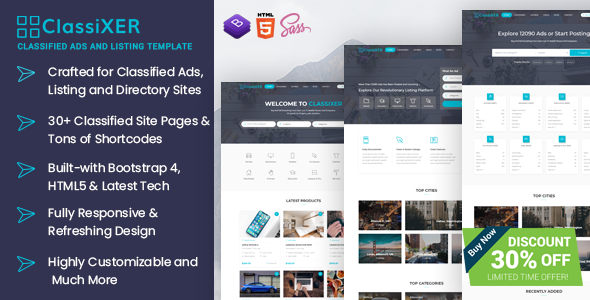 classixer classified ads and listing website template by uideck