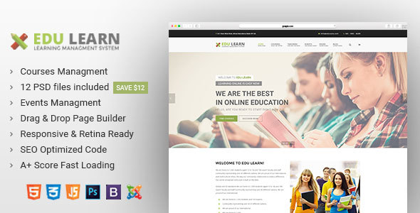 Edulearn education school courses joomla template by adobitheme edulearn education school courses joomla template joomla cms themes maxwellsz