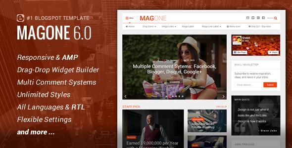 MagOne Responsive News Magazine Blogger Template By Tiennguyenvan - News website design template