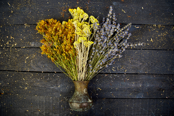 Dry Herbs Flower In Vase Aromatherapy Medicinal Stock Photo By