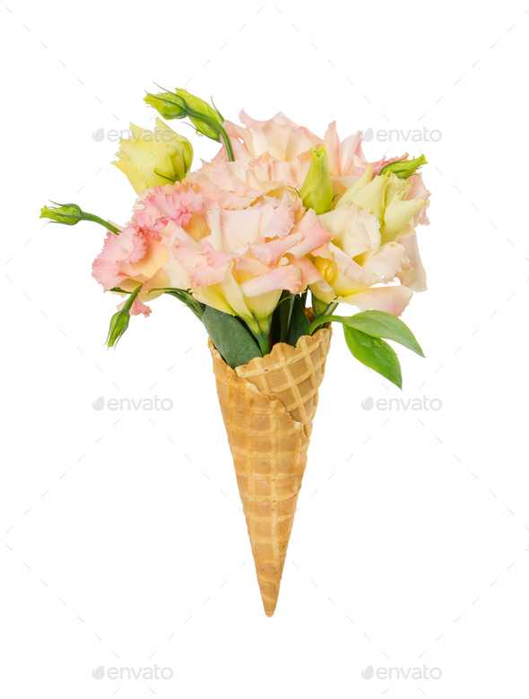 Waffle cone with flower bouquet isolated on white Stock Photo by ...