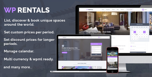 WP Rentals Booking Accommodation WordPress Theme By WpEstate - House for rent advertisement template