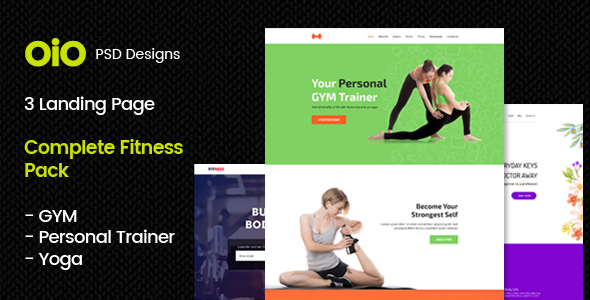 gym yoga personal trainer psd template landing page by oio designs