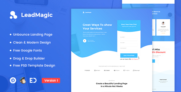LeadMagic - Lead Generation Unbounce Landing Page Template by ...