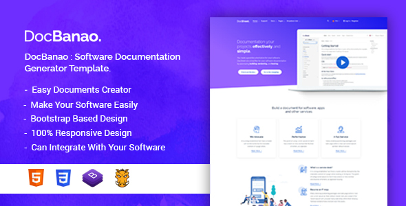 docbanao software documentation generator html template by bdtask. Black Bedroom Furniture Sets. Home Design Ideas