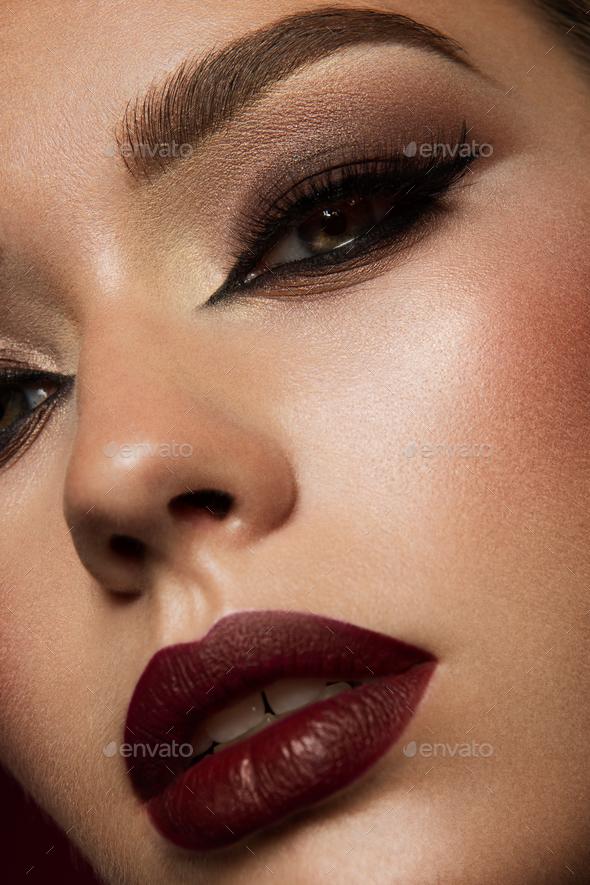 close up beauty shot of young pretty model stock photo by korabkova