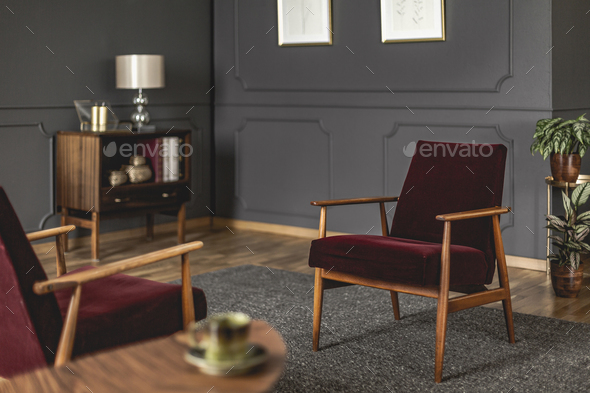 Burgundy Armchair Placed On Dark Carpet In Grey Living Room Inte Stock  Photo By Bialasiewicz