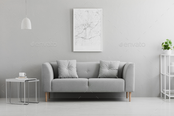 Poster Above Grey Couch In Minimal Living Room Interior With Lam Stock  Photo By Bialasiewicz