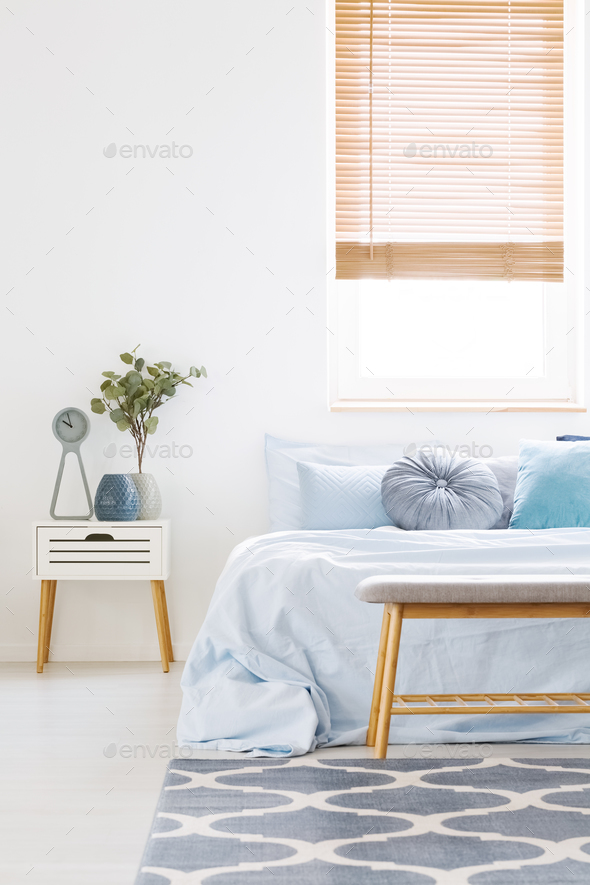 Merveilleux Window With Wooden Blinds In White Bedroom Interior With Bed Wit Stock  Photo By Bialasiewicz