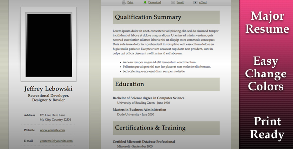 Major Resume Template