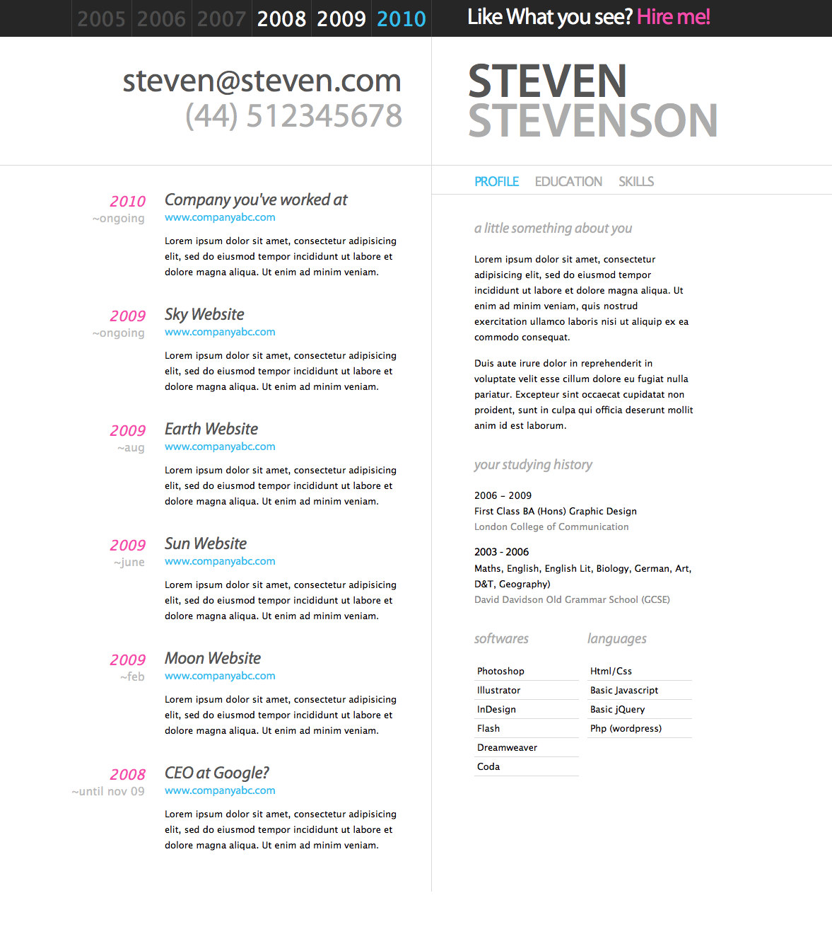 Examples of Beautiful Resume/CV Web Templates