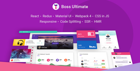 Boss Ultimate - React Admin Template Material Design by ilhammeidi