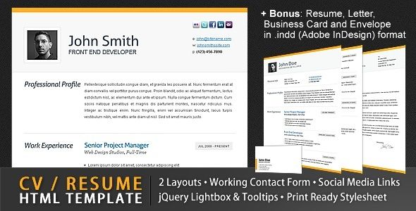 Clean CV / Resume Html Template + 4 Bonuses