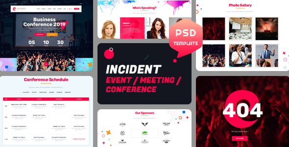 incident event meeting and conference psd template by theme rocket