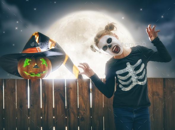 child on halloween stock photo by choreograph photodune