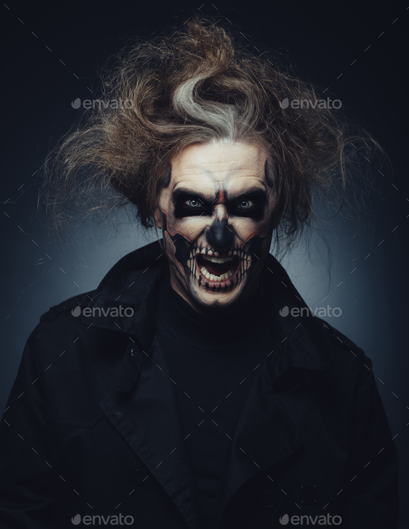 skull makeup portrait of young man halloween face art stock photo by arthurhidden