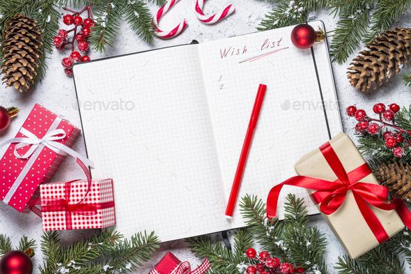 wish list for christmas with christmas decorations stock photo by nadianb - Christmas Decorations List