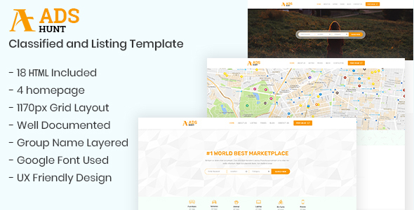 adshunt classified and listing html5 template by smartit source