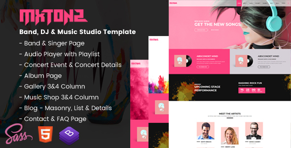 mxtonz a fresh band dj music studio template by appscred