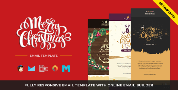 christmas and new year responsive email template with builder newsletters email templates