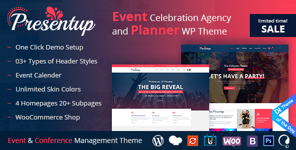presentup event planner celebrations management wordpress theme