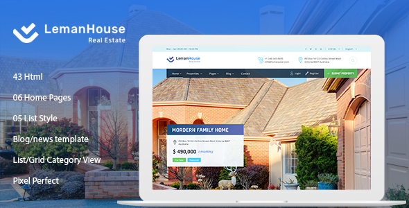 lemanhouse real estate html template by htmlbeans themeforest